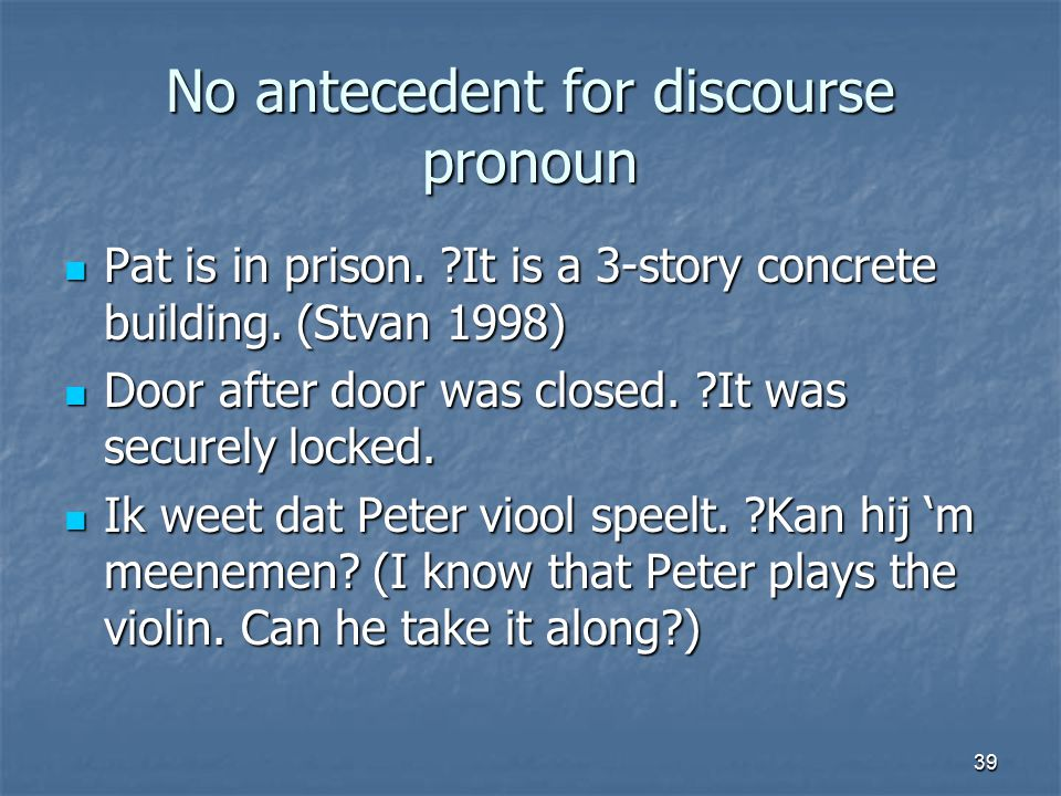 39 No antecedent for discourse pronoun Pat is in prison.