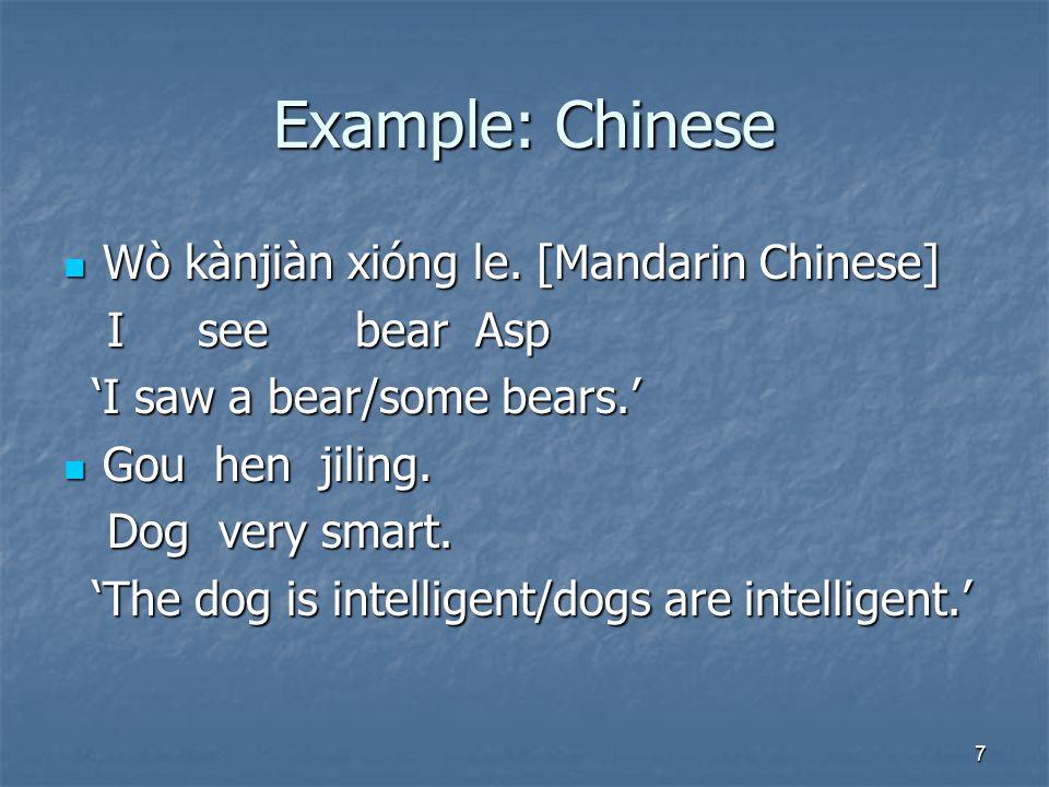 7 Example: Chinese Wò kànjiàn xióng le. [Mandarin Chinese] Wò kànjiàn xióng le.