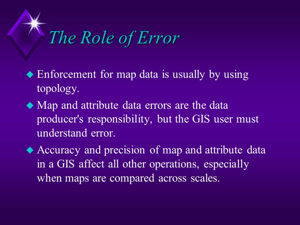The Role of Error u Enforcement for map data is usually by using topology.