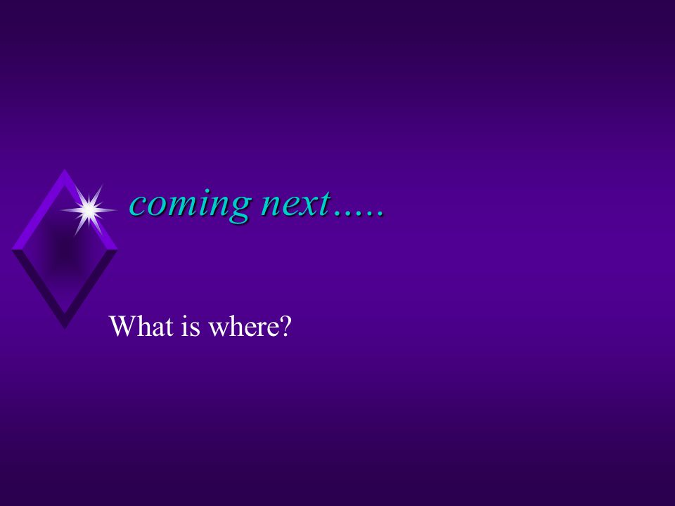 coming next….. coming next….. What is where
