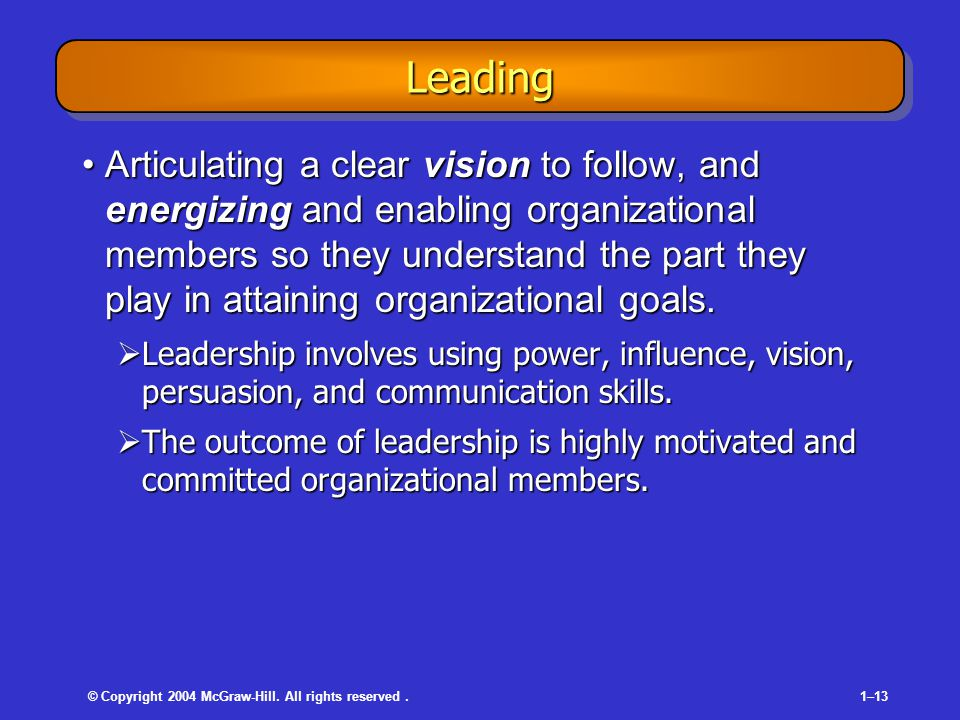 © Copyright 2004 McGraw-Hill. All rights reserved.1–13 LeadingLeading Articulating a clear vision to follow, and energizing and enabling organizationa