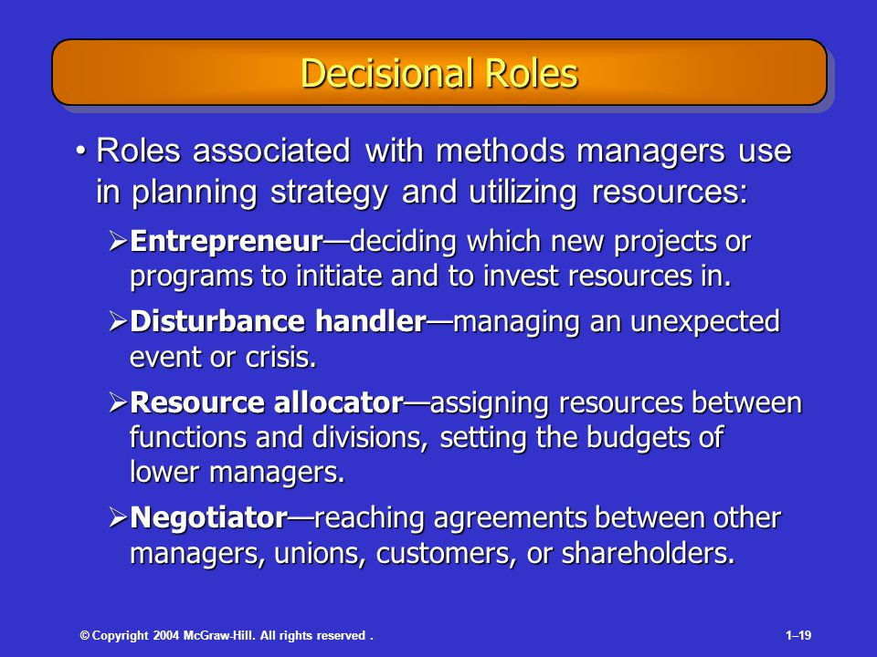 © Copyright 2004 McGraw-Hill. All rights reserved.1–19 Decisional Roles Roles associated with methods managers use in planning strategy and utilizing