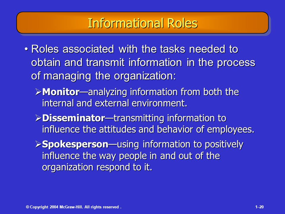 © Copyright 2004 McGraw-Hill. All rights reserved.1–20 Informational Roles Roles associated with the tasks needed to obtain and transmit information i
