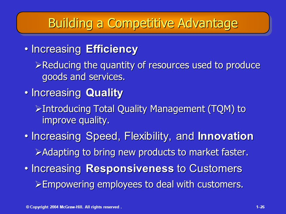 © Copyright 2004 McGraw-Hill. All rights reserved.1–26 Building a Competitive Advantage Increasing EfficiencyIncreasing Efficiency  Reducing the quan