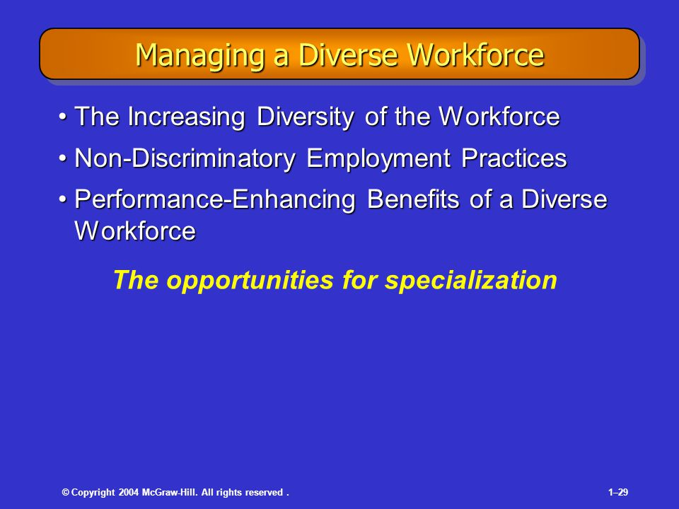 © Copyright 2004 McGraw-Hill. All rights reserved.1–29 Managing a Diverse Workforce The Increasing Diversity of the WorkforceThe Increasing Diversity