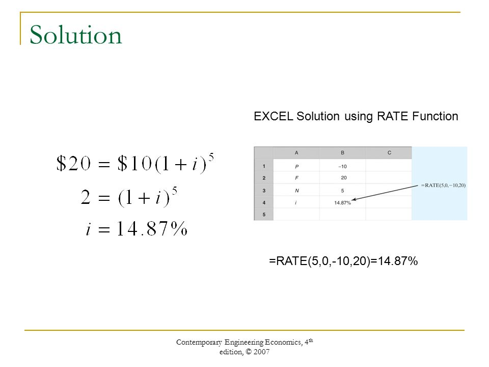 Contemporary Engineering Economics, 4 th edition, © 2007 Solution EXCEL Solution using RATE Function =RATE(5,0,-10,20)=14.87%