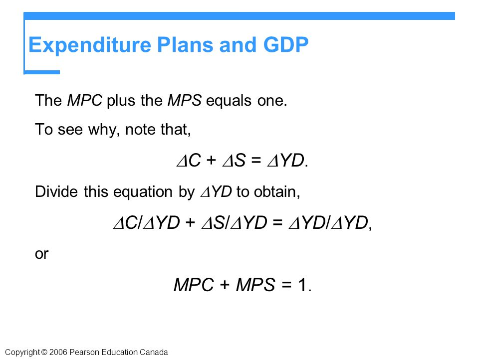 Expenditure Plans and GDP The MPC plus the MPS equals one.