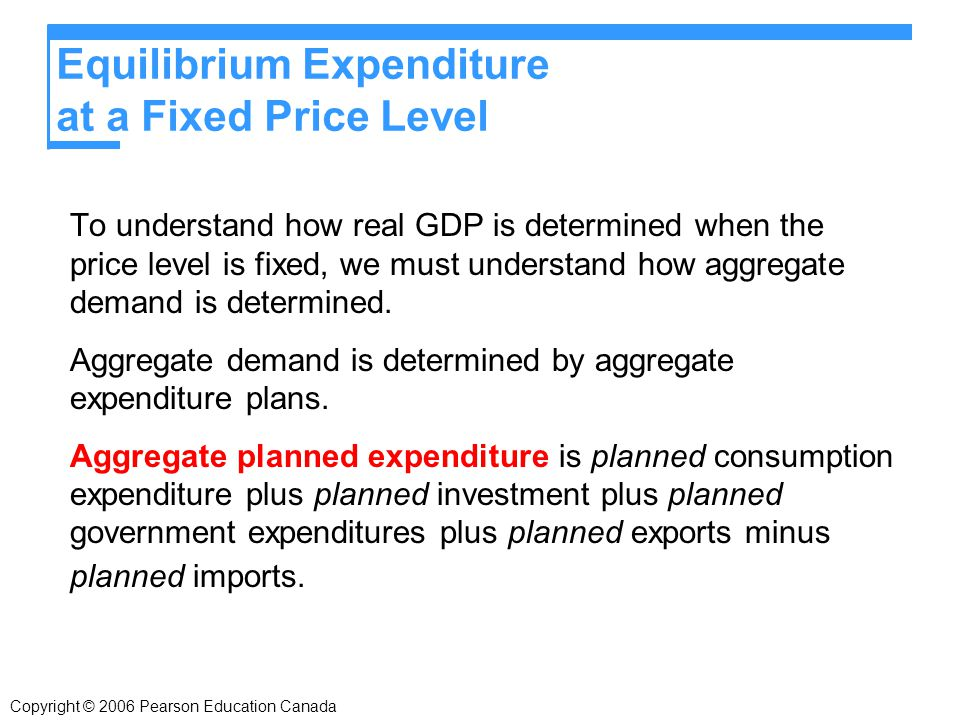 Copyright © 2006 Pearson Education Canada Equilibrium Expenditure at a Fixed Price Level To understand how real GDP is determined when the price level is fixed, we must understand how aggregate demand is determined.