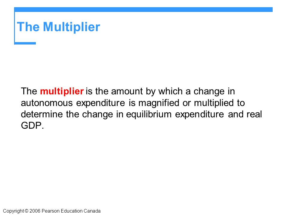 The Multiplier The multiplier is the amount by which a change in autonomous expenditure is magnified or multiplied to determine the change in equilibrium expenditure and real GDP.