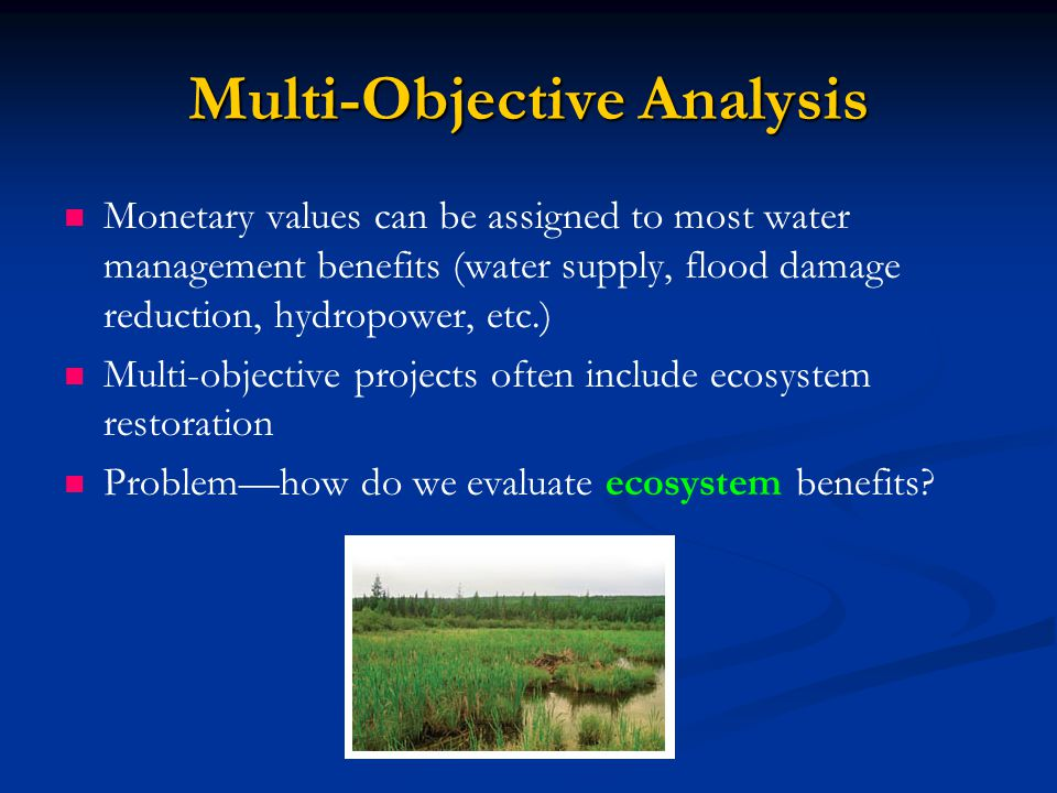 Multi-Objective Analysis Monetary values can be assigned to most water management benefits (water supply, flood damage reduction, hydropower, etc.) Multi-objective projects often include ecosystem restoration Problem—how do we evaluate ecosystem benefits