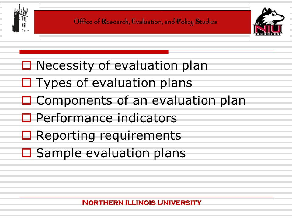 Evaluation Plans  Performance Indicators Office Of Research