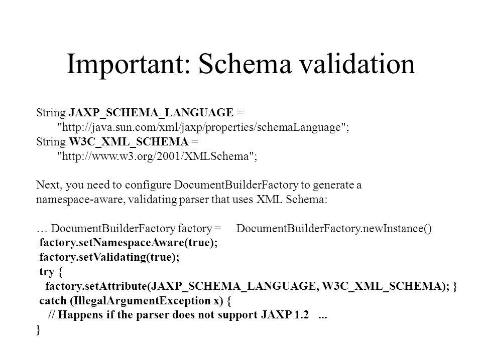 Validating xml documentbuilderfactory