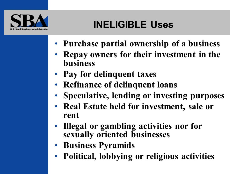 INELIGIBLE Uses Purchase partial ownership of a business Repay owners for their investment in the business Pay for delinquent taxes Refinance of delinquent loans Speculative, lending or investing purposes Real Estate held for investment, sale or rent Illegal or gambling activities nor for sexually oriented businesses Business Pyramids Political, lobbying or religious activities