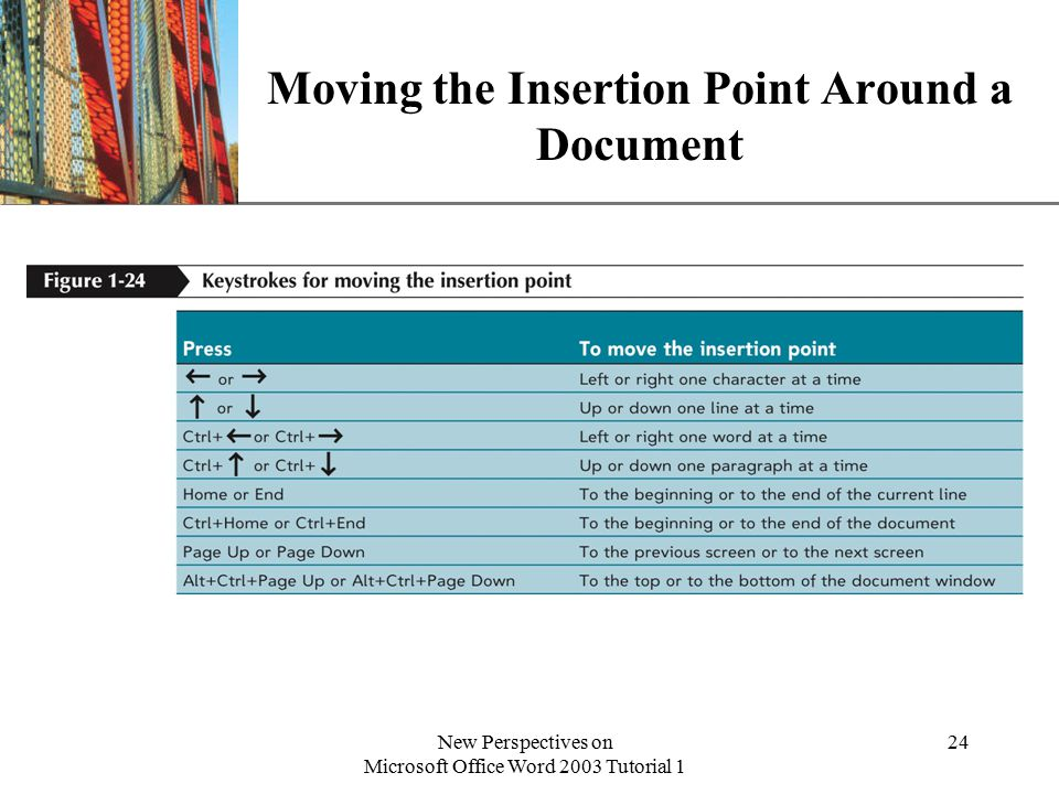 XP New Perspectives on Microsoft Office Word 2003 Tutorial 1 24 Moving the Insertion Point Around a Document