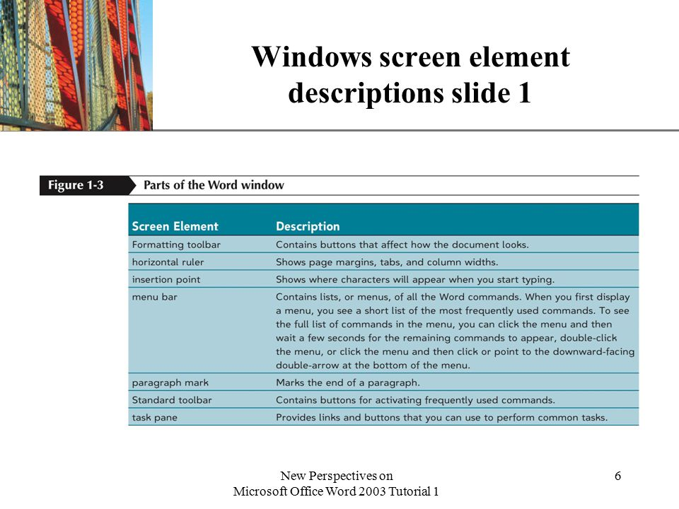 XP New Perspectives on Microsoft Office Word 2003 Tutorial 1 6 Windows screen element descriptions slide 1