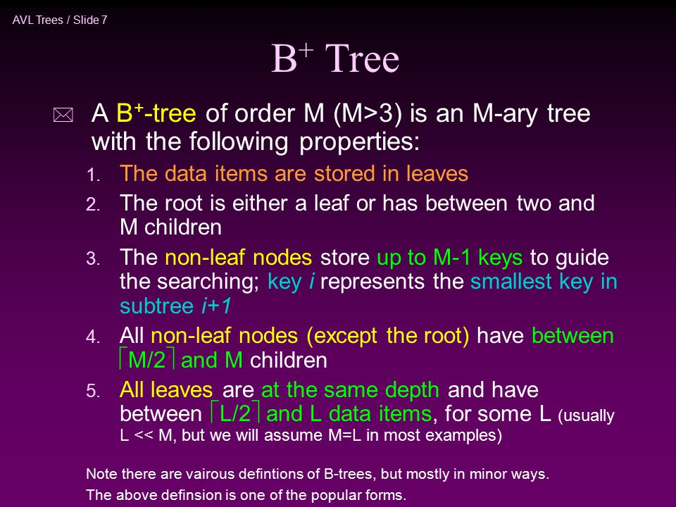 AVL Trees / Slide 7 B + Tree * A B + -tree of order M (M>3) is an M-ary tree with the following properties: 1.