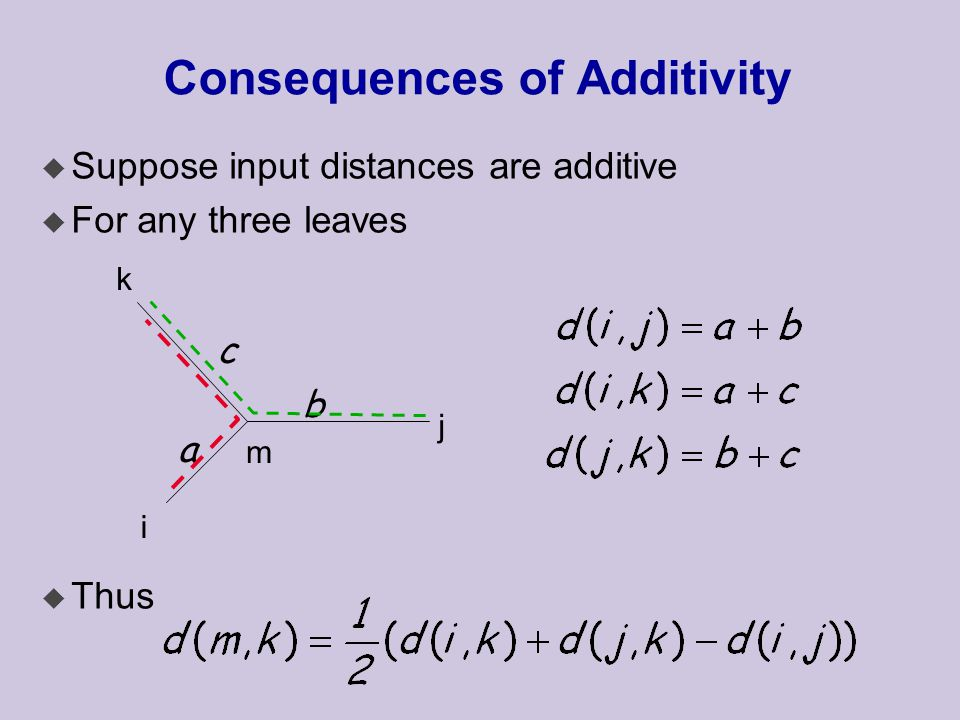 Consequences of Additivity u Suppose input distances are additive u For any three leaves u Thus a b c i j k m