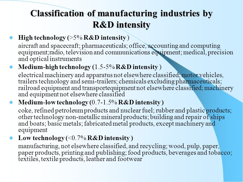 Classification of manufacturing industries by R&D intensity High technology (>5% R&D intensity ) aircraft and spacecraft; pharmaceuticals; office, accounting and computing equipment;radio, television and communications equipment; medical, precision and optical instruments Medium-high technology (1.5-5% R&D intensity ) electrical machinery and apparatus not elsewhere classified; motor vehicles, trailers technology and semi-trailers; chemicals excluding pharmaceuticals; railroad equipment and transportequipment not elsewhere classified; machinery and equipment not elsewhere classified Medium-low technology ( % R&D intensity ) coke, refined petroleum products and nuclear fuel; rubber and plastic products; other technology non-metallic mineral products; building and repair of ships and boats; basic metals; fabricated metal products, except machinery and equipment Low technology (<0.7% R&D intensity ) manufacturing, not elsewhere classified, and recycling; wood, pulp, paper, paper products, printing and publishing; food products, beverages and tobacco; textiles, textile products, leather and footwear