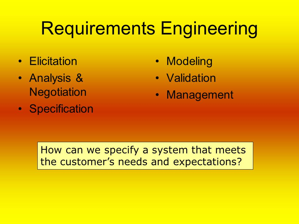 Requirements Engineering Elicitation Analysis & Negotiation Specification Modeling Validation Management How can we specify a system that meets the customer's needs and expectations