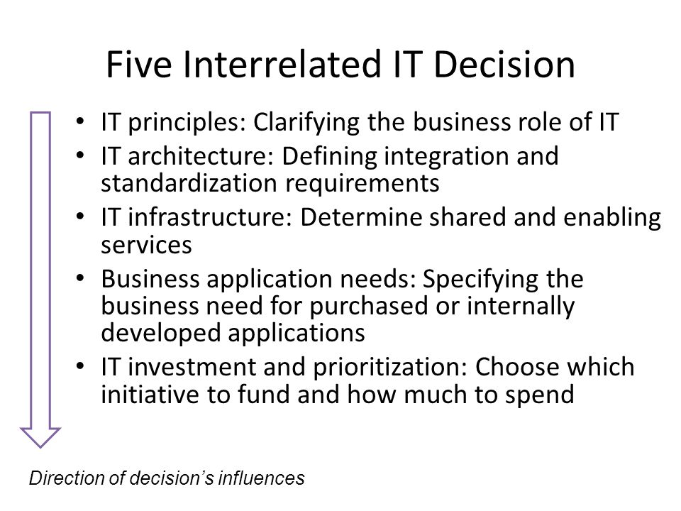 Five Interrelated IT Decision IT principles: Clarifying the business role of IT IT architecture: Defining integration and standardization requirements IT infrastructure: Determine shared and enabling services Business application needs: Specifying the business need for purchased or internally developed applications IT investment and prioritization: Choose which initiative to fund and how much to spend Direction of decision's influences