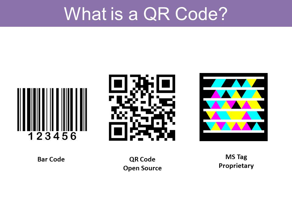 What is a QR Code Bar CodeQR Code Open Source MS Tag Proprietary
