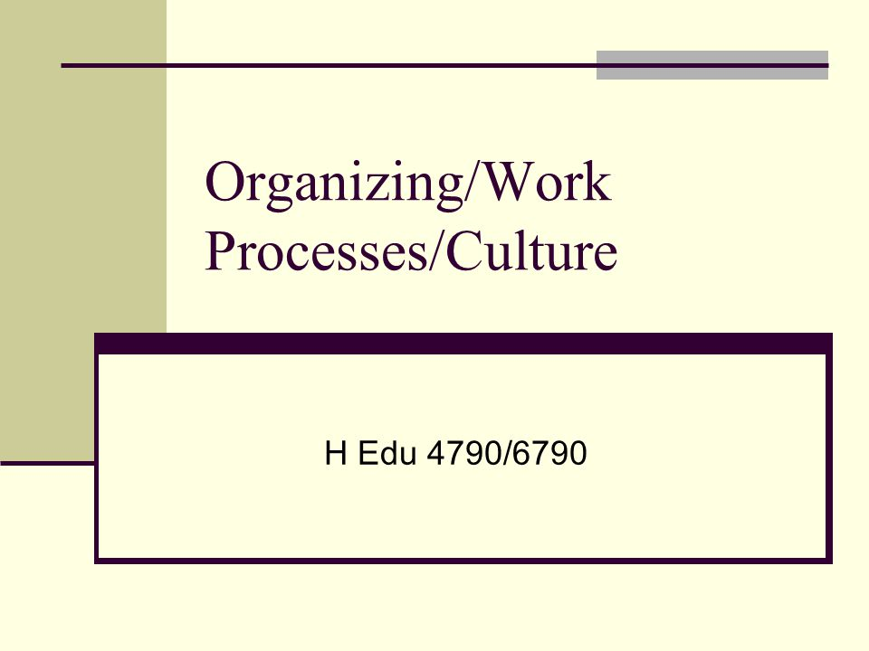 Organizing/Work Processes/Culture H Edu 4790/6790