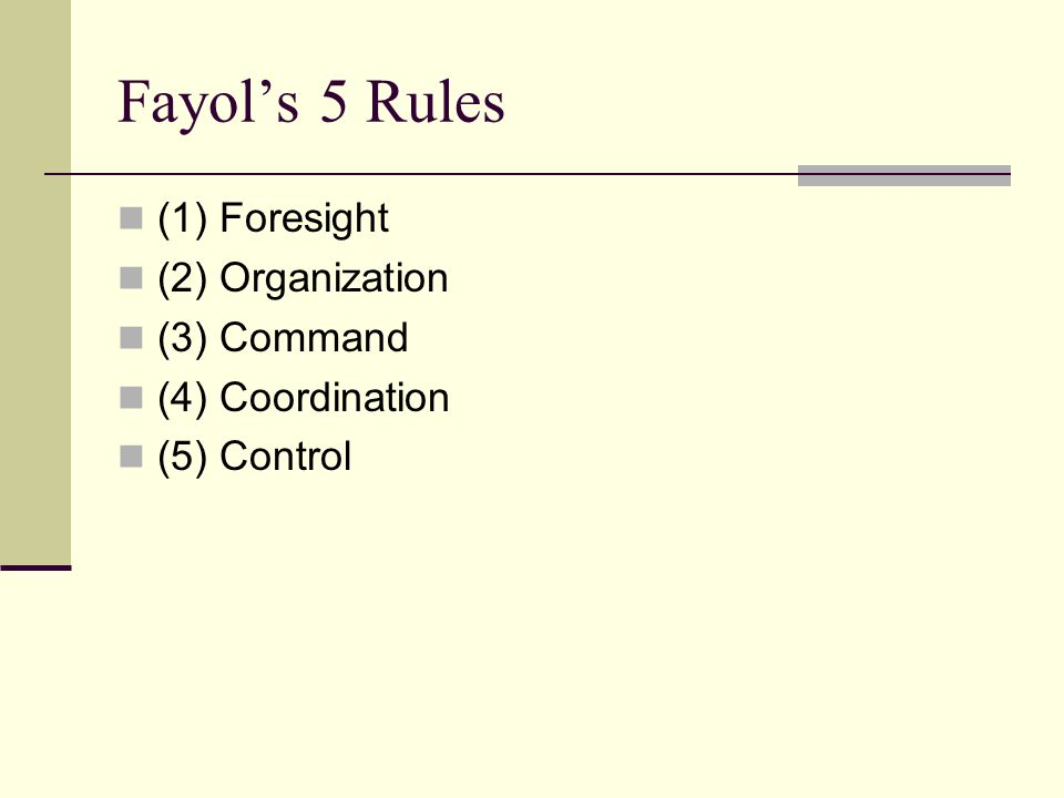 Fayol's 5 Rules (1) Foresight (2) Organization (3) Command (4) Coordination (5) Control