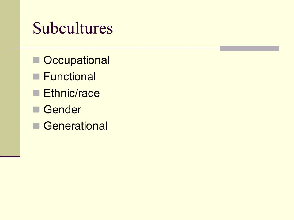 Subcultures Occupational Functional Ethnic/race Gender Generational