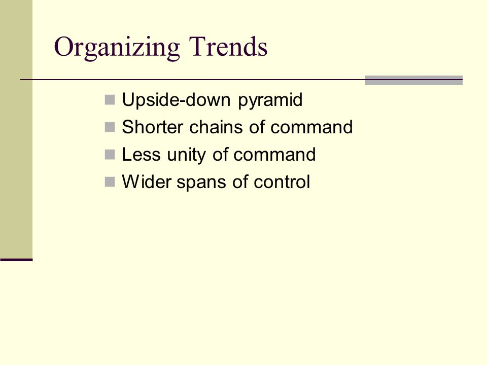 Organizing Trends Upside-down pyramid Shorter chains of command Less unity of command Wider spans of control