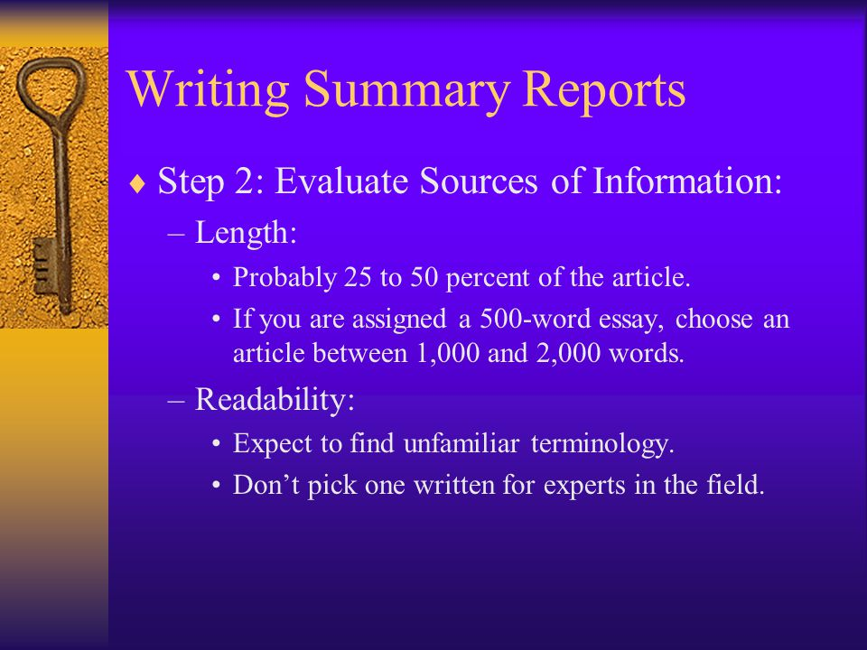 on writing summary
