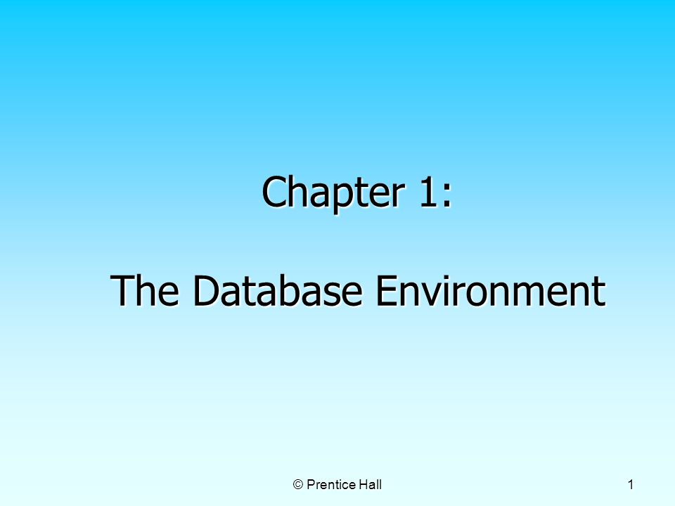 © Prentice Hall 1 Chapter 1: The Database Environment