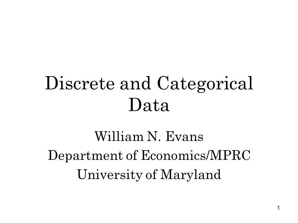 1 Discrete and Categorical Data William N.