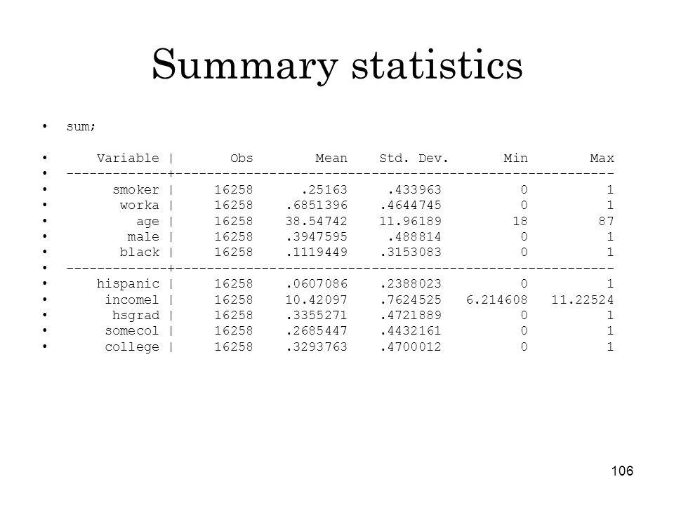 106 Summary statistics sum; Variable   Obs Mean Std.