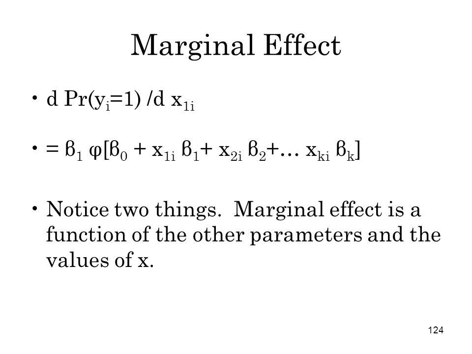 124 Marginal Effect d Pr(y i =1) /d x 1i = β 1 φ[β 0 + x 1i β 1 + x 2i β 2 +… x ki β k ] Notice two things.