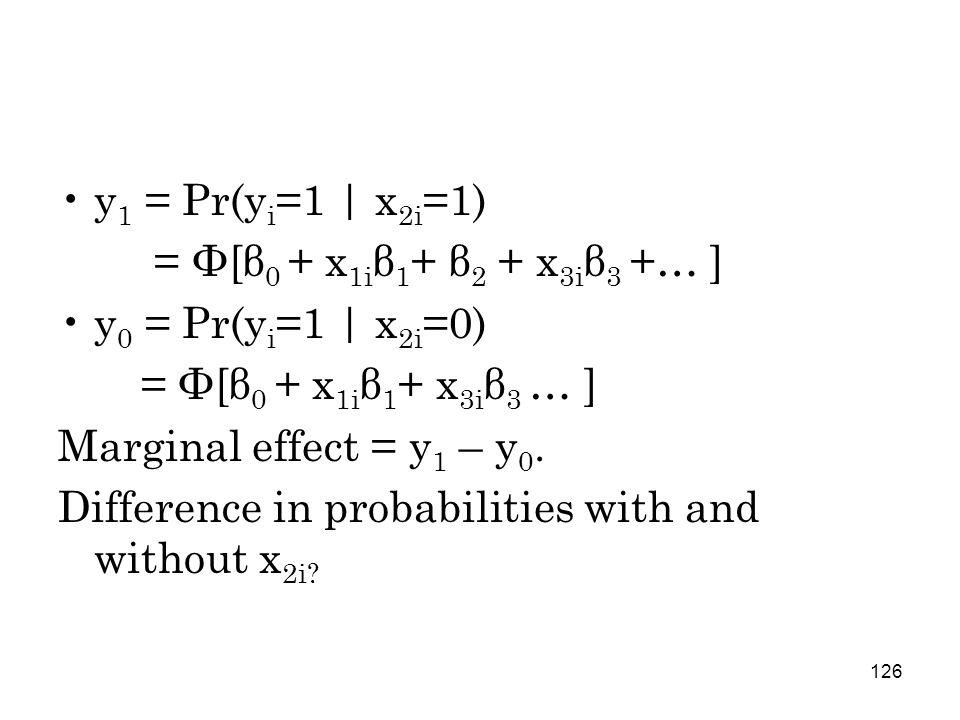 126 y 1 = Pr(y i =1   x 2i =1) = Φ[β 0 + x 1i β 1 + β 2 + x 3i β 3 +… ] y 0 = Pr(y i =1   x 2i =0) = Φ[β 0 + x 1i β 1 + x 3i β 3 … ] Marginal effect = y 1 – y 0.