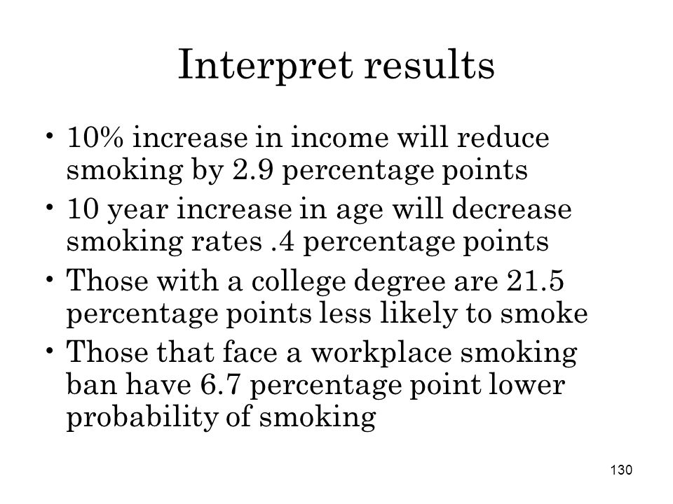 130 Interpret results 10% increase in income will reduce smoking by 2.9 percentage points 10 year increase in age will decrease smoking rates.4 percentage points Those with a college degree are 21.5 percentage points less likely to smoke Those that face a workplace smoking ban have 6.7 percentage point lower probability of smoking