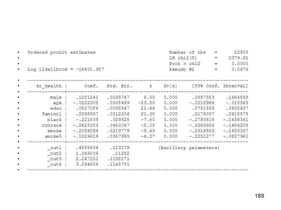 189 Ordered probit estimates Number of obs = 12900 LR chi2(8) = 2379.61 Prob > chi2 = 0.0000 Log likelihood = -16401.987 Pseudo R2 = 0.0676 ------------------------------------------------------------------------------ sr_health   Coef.