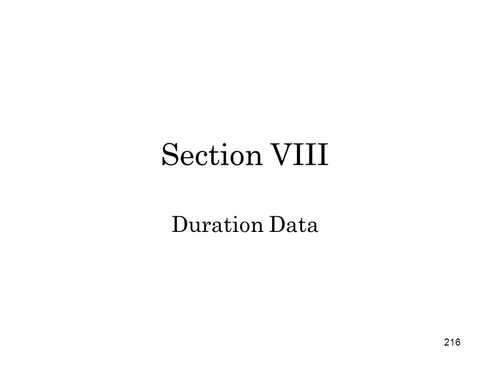 216 Section VIII Duration Data