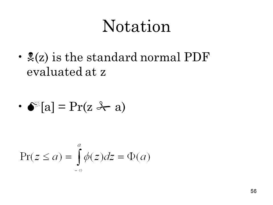 56 Notation  (z) is the standard normal PDF evaluated at z  [a] = Pr(z  a)