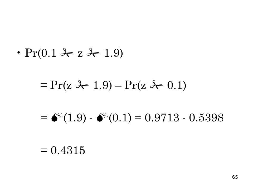 65 Pr(0.1  z  1.9) = Pr(z  1.9) – Pr(z  0.1) = M (1.9) - M (0.1) = 0.9713 - 0.5398 = 0.4315