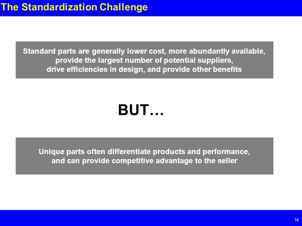 Page The Standardization Challenge Standard parts are generally lower cost, more abundantly available, provide the largest number of potential suppliers, drive efficiencies in design, and provide other benefits BUT… Unique parts often differentiate products and performance, and can provide competitive advantage to the seller