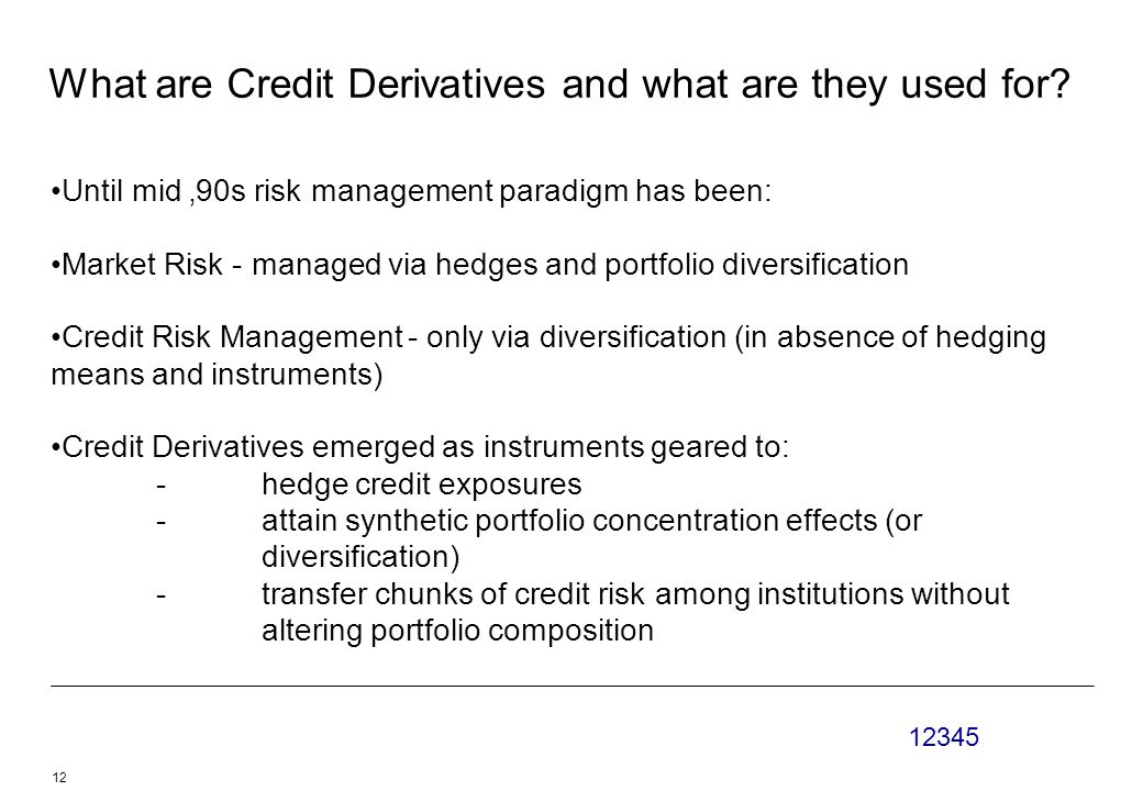 12345 12 What are Credit Derivatives and what are they used for.