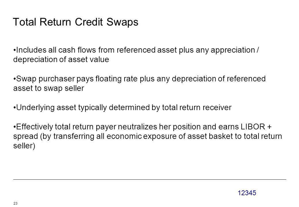 12345 23 Total Return Credit Swaps Includes all cash flows from referenced asset plus any appreciation / depreciation of asset value Swap purchaser pays floating rate plus any depreciation of referenced asset to swap seller Underlying asset typically determined by total return receiver Effectively total return payer neutralizes her position and earns LIBOR + spread (by transferring all economic exposure of asset basket to total return seller)