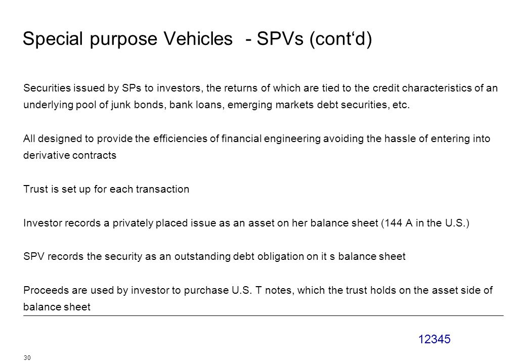 12345 30 Special purpose Vehicles - SPVs (cont'd) Securities issued by SPs to investors, the returns of which are tied to the credit characteristics of an underlying pool of junk bonds, bank loans, emerging markets debt securities, etc.