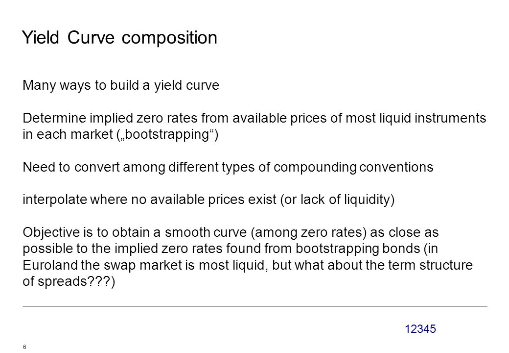 """12345 6 Yield Curve composition Many ways to build a yield curve Determine implied zero rates from available prices of most liquid instruments in each market (""""bootstrapping ) Need to convert among different types of compounding conventions interpolate where no available prices exist (or lack of liquidity) Objective is to obtain a smooth curve (among zero rates) as close as possible to the implied zero rates found from bootstrapping bonds (in Euroland the swap market is most liquid, but what about the term structure of spreads )"""