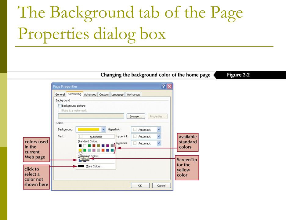 The Background tab of the Page Properties dialog box