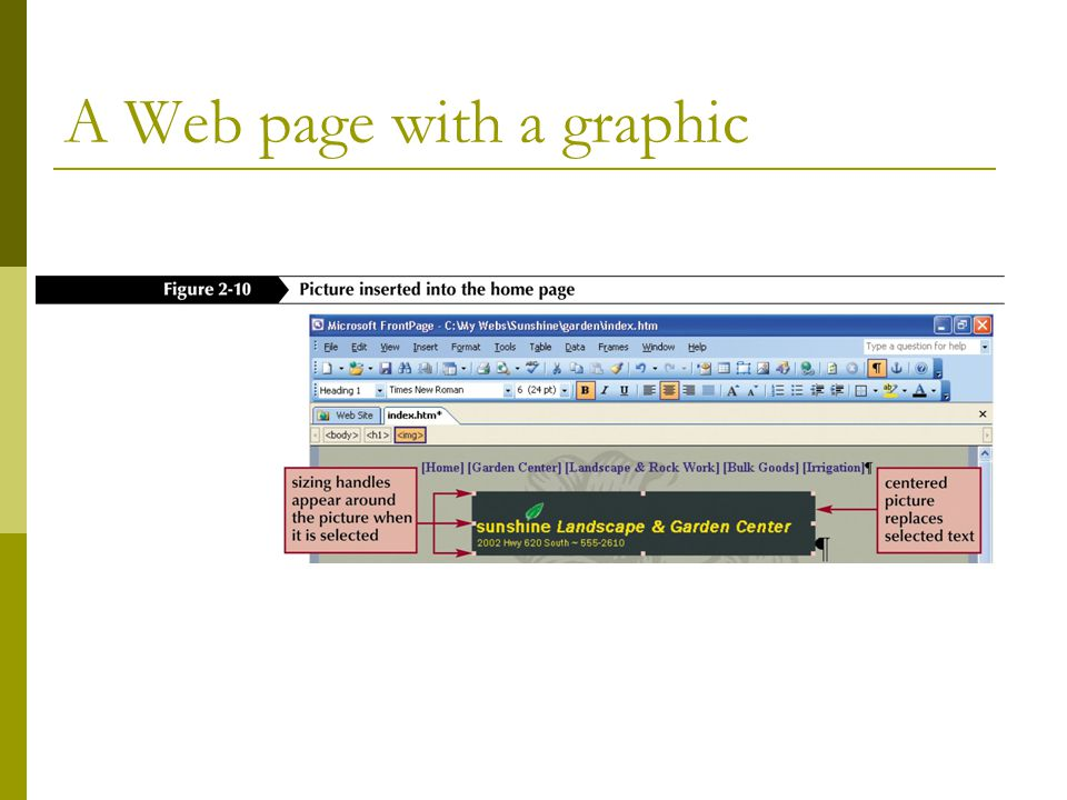 A Web page with a graphic