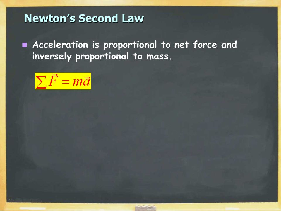 Newton's Second Law Acceleration is proportional to net force and inversely proportional to mass.