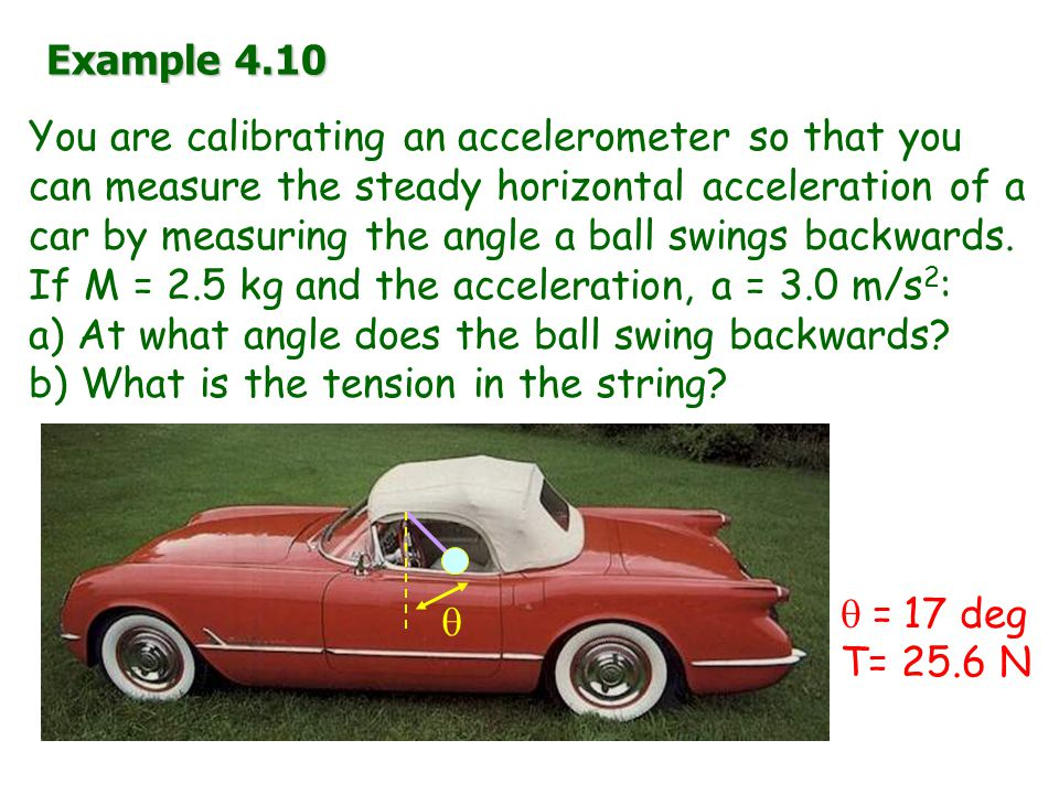 Example 4.10 You are calibrating an accelerometer so that you can measure the steady horizontal acceleration of a car by measuring the angle a ball swings backwards.