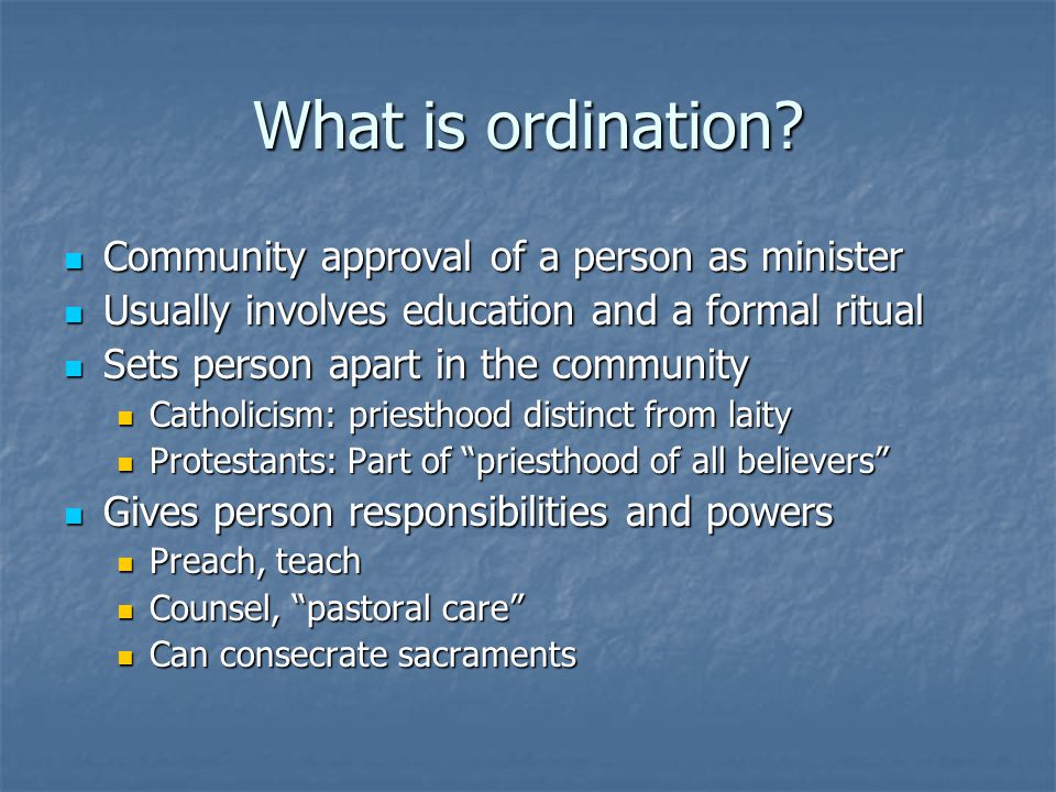 What is ordination.